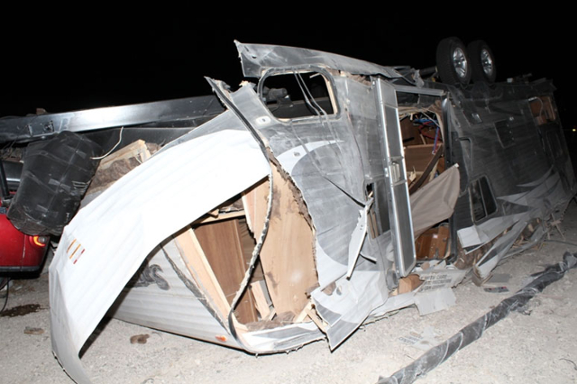 Nevada Highway Patrol tweeted this photo following a Sunday night rollover accident on Interstate 15, the 41st fatal accident of the year in NHP's jurisdiction. (Nevada Highway Patrol)