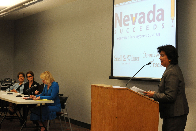 Sylvia Lazos, Justice Myron Leavitt Professor of Law at Boyd School of Law at UNLV, makes opening comments at the Nevada Literacy Summit at UNLV, March 18, 2014. (Jerry Henkel/Las Vegas Review-Jou ...