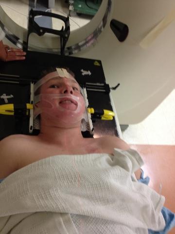 Tanner Seebaum about to undergo procedure (Courtesy Landon Dyksterhouse)