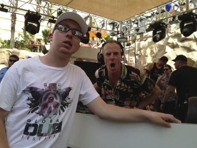 Tanner Seebaum and Fatboy Slim at Hard Rock Hotel (Courtesy Landon Dyksterhouse)