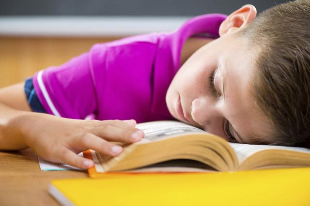 Tired schoolboy sleeping on book. (Thinkstock)