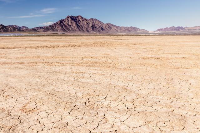 Dry lake bed in desert