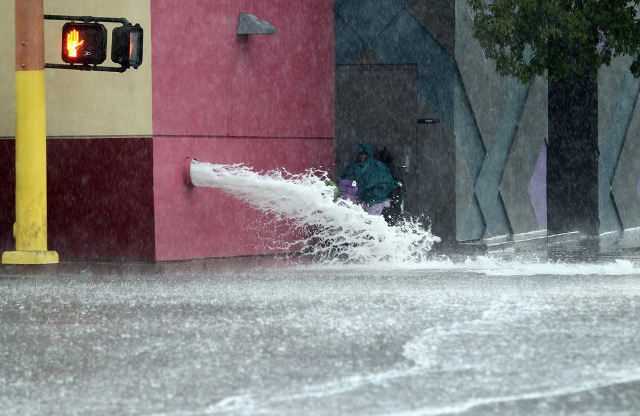 """""""Downtown Las Vegas got some serious water today."""" (@kmcannonphoto/Twitter)"""