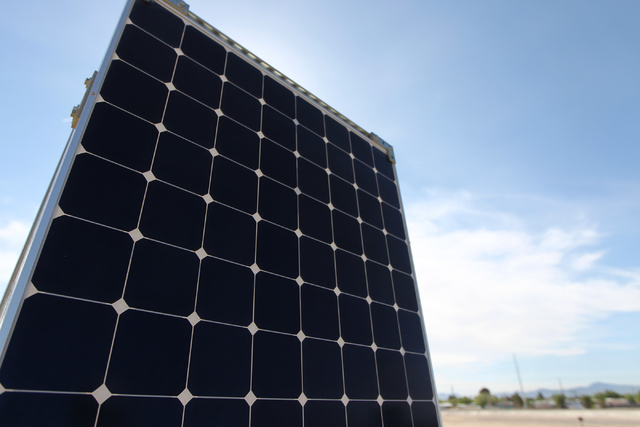 A solar panel is seen during a ground breaking ceremony for the Nellis Solar Array II project at Nellis Air Force Base in Las Vegas in March. (Erik Verduzco/Las Vegas Review-Journal)