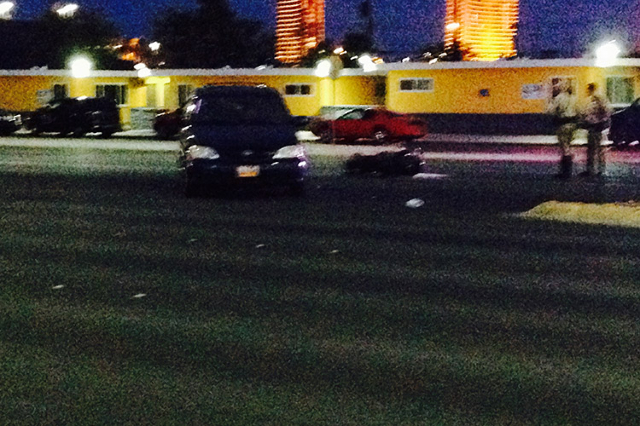 Las Vegas Police investigate at the scene of an accident that shut down Sahara Avenue in both directions between Teddy Drive and Richfield Avenue on Friday, July 31, 2015. (Greg Haas/Las Vegas Rev ...