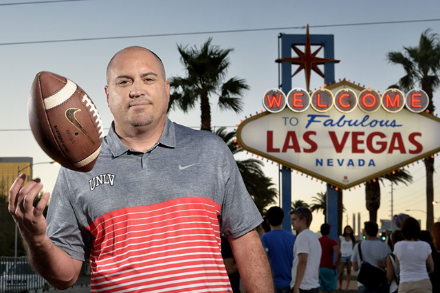 "Incoming UNLV head football coach Tony Sanchez is seen at the ""Welcome to Fabulous Las Vegas"" sign on Sunday, July 26, 2015. (Bill Hughes/Las Vegas Review-Journal)"