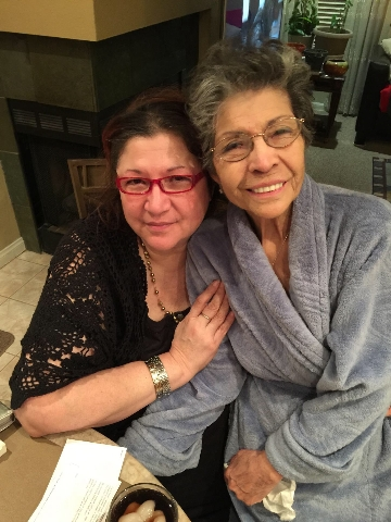 Linda Luebeck (left) and her mother, Mary Luebeck (right) in 2015. (Courtesy photo)