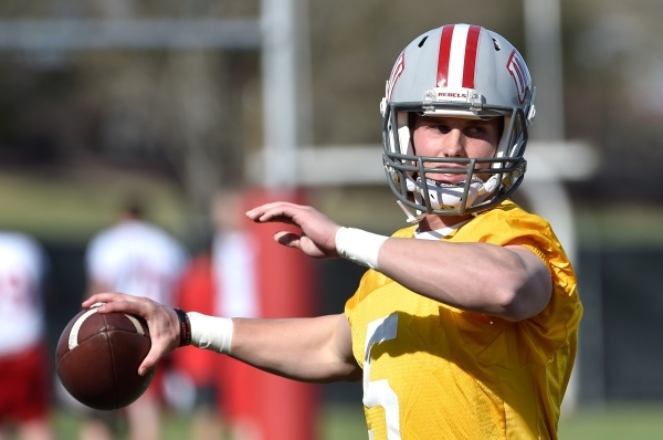 UNLV quarterback Blake Decker looks to throw the ball during the first day of spring practice at Rebel Park at UNLV on Monday, March 16, 2015, in Las Vegas. (David Becker/Las Vegas Review-Journal)