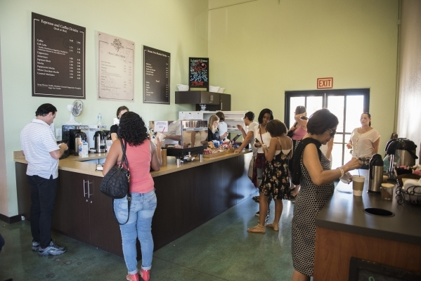 Church-goers purchase coffee between services at The Coffee Tree coffee shop inside the International Church of Las Vegas in Las Vegas on Sunday, Aug. 16, 2015. (Martin S. Fuentes/Las Vegas Review ...