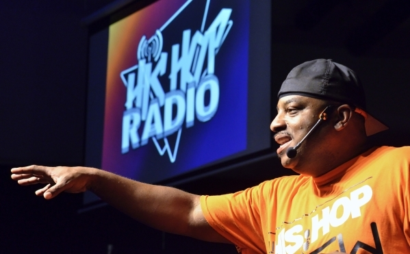 Sam Stewart, founder of Club His Hop and His Hop Radio, speaks during His Hop, a youth program at Family Worship Christian Church at 3945 E. Patrick Lane in Las Vegas on Friday, Aug. 14, 2015. (Bi ...