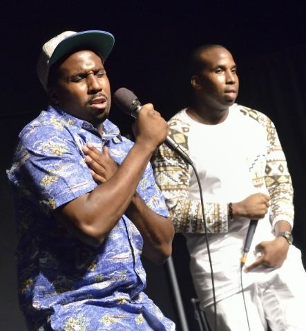 Elisha Rayford, left, and his twin brother Ellery perform as Well-fed: The Gospel during His Hop, a youth program at Family Worship Christian Church at 3945 E. Patrick Lane in Las Vegas on Friday, ...