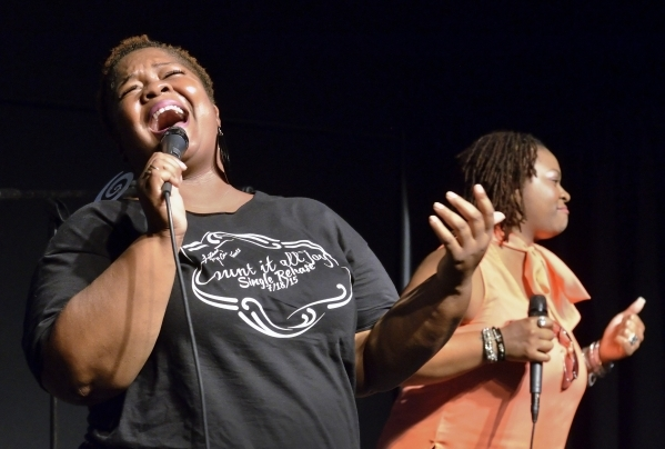 Latasha McCall, left, and her cousin Erika McCall perform during His Hop, a youth program at Family Worship Christian Church at 3945 E. Patrick Lane in Las Vegas on Friday, Aug. 14, 2015. (Bill Hu ...