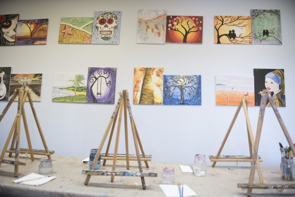 Easels and paintings are shown at The King Art Studio in Henderson, Wednesday, Aug. 19, 2015. (Jason Ogulnik/Las Vegas Review-Journal)