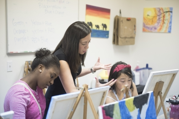 Instructor Sarah King gives instruction to 11-year-old Torryana Tanis, left, and 10-year-old Justine Retodo during the group painting class at The King Art Studio in Henderson, Wednesday, Aug. 19, ...