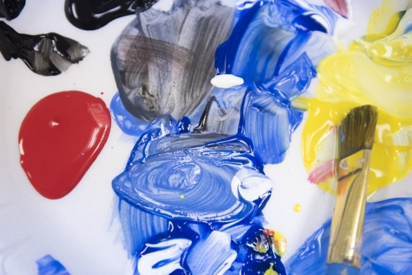 A paint mixing palette is shown at The King Art Studio in Henderson, Wednesday, Aug. 19, 2015. (Jason Ogulnik/Las Vegas Review-Journal)