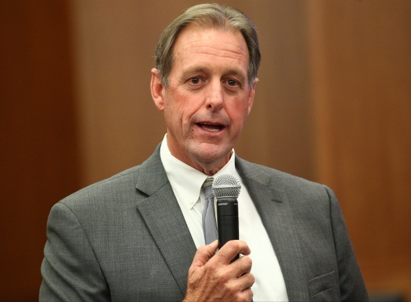 North Las Vegas Mayor John Lee, left, speaks at a city council meeting at North Las Vegas City Hall on Wednesday, May 20, 2015. (Chase Stevens/Las Vegas Review-Journal) Follow Chase Stevens on Twi ...