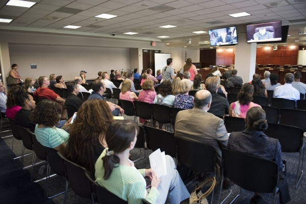 Concerned parents voice their opinion on Nevada's upcoming new Education Savings Account during a public workshop held at the State Treasurer's office inside the Grant Sawyer state off ...