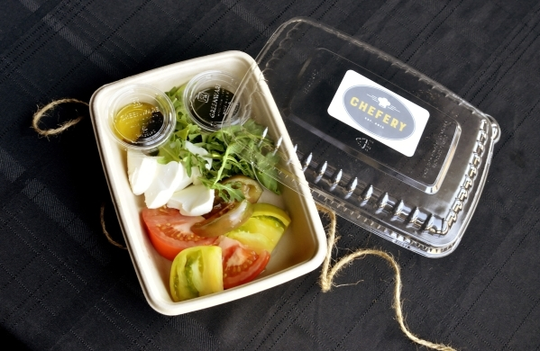 A Caprese salad is shown ready for delivery at Chefery, 2540 Anthem Village Drive in Henderson, Aug. 21. (Bill Hughes/View)