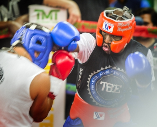 Welterweight world champion Floyd Mayweather Jr. spars at  Mayweather Boxing Club, 4020 Schiff Drive on Wednesday, Aug. 26, 2015. He will be fighting Andre Berto at the MGM Grand Garden on Sept. 1 ...