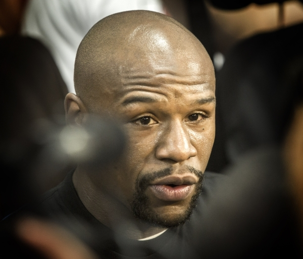 Welterweight world champion Floyd Mayweather Jr. talks to the media  at  Mayweather Boxing Club, 4020 Schiff Drive on Wednesday, Aug. 26, 2015. He will be fighting Andre Berto at the MGM Grand Gar ...