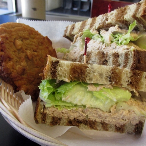 Tuna fish on marble rye is among sandwich choices at The Coffee Press inside the Paseo Verde Library, 280 S. Green Valley Parkway. Old-fashioned peanut butter cookies and other pastries also are f ...
