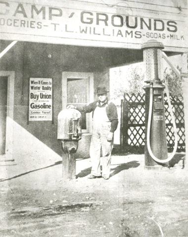 """Tom L. Williams, the """"Father of North Las Vegas,"""" stands in front of his Oasis Auto Court general store in a photo taken in the late 1920s. (Courtesy UNLV Special Collections)"""