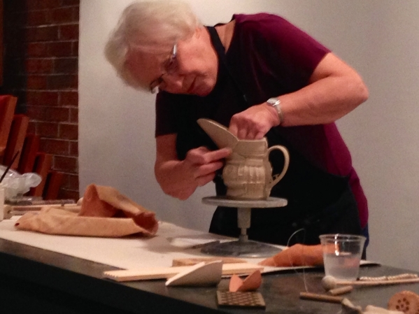 Sandy Blain works on a ceramic vessel at her Arizona studio on Sept. 27, 2014. (Special to View)
