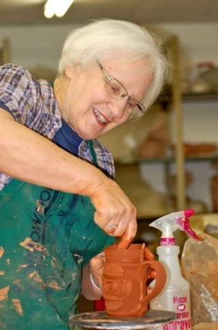 Sandy Blain works on a ceramic vessel at her Arizona studio on April 21, 2012. (Special to View)