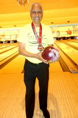 Jerry Lindsay, wearing his most recent National Senior Games Association second-place bowling medal, regularly bowls at Texas Station. He is currently practicing for the upcoming Nevada Senior Gam ...