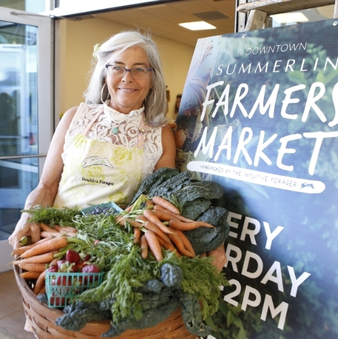 The Intuitive Forager, Kerry Clasby, shown March 14 at the launch of the Downtown Summerlin Farmers Market, plans to take part in a Talk & Taste event Sept. 5 at the market. (Bizuayehu Tesfaye ...