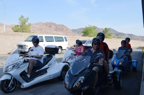 A group of riders prepares to embark on a Vegas Trikes tour of Hoover Dam. (Ginger Meurer/Special to View)