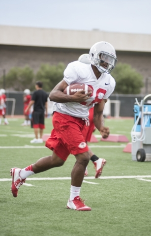 UNLV running back Keith Whitely (28) works out at Rebel Park on the UNLV campus on Tuesday, Aug. 25, 2015. Martin S. Fuentes/Las Vegas Review-Journal