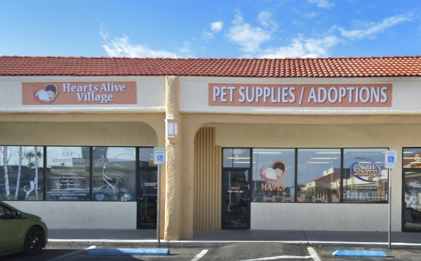 The exterior of Hearts Alive Village Las Vegas is shown at 1720 S. Rainbow Blvd. on Thursday, Aug. 27, 2015. The adoption center and pet supply store was founded by Kendall Stevens and her mother  ...