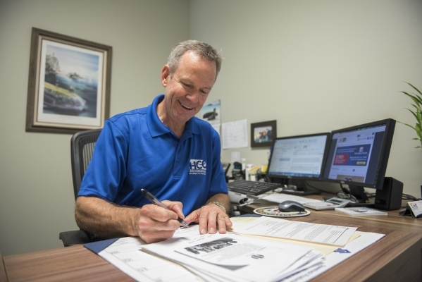 Henderson Chamber of Commerce Foundation Manager Bill Bokelmann works at his office at the Henderson Business Resource Center Friday, Aug. 28, 2015. The Center is a business incubator for small an ...