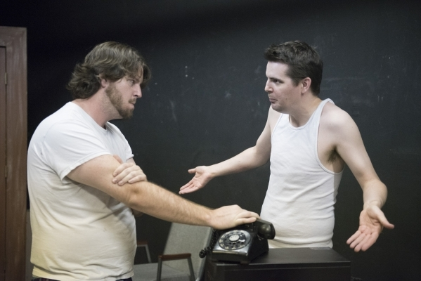 """Brandon Alan McClenahan, left, and Shane Cullum rehearse for their play """"Tinfoil Haberdashery"""" at Las Vegas Little Theatre Studio in Las Vegas on Thursday, Aug. 27, 2015. The play, set a ..."""