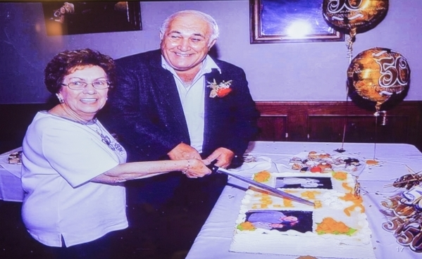 A video image of Mary and Maurice Iorio celebrating their 50th anniversary is seen while Mary Iorio testifies during trial involving the diabetes drug Actos at the Regional Justice Center, 200 Lew ...