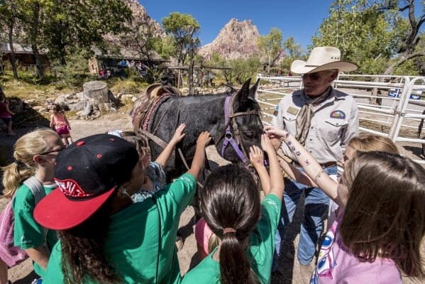 A horse is pet during Pioneer Day at Spring Mountain Ranch State Park in Blue Diamond, Nev. on Saturday, Sept. 19, 2015. Joshua Dahl/Las Vegas Review-Journal