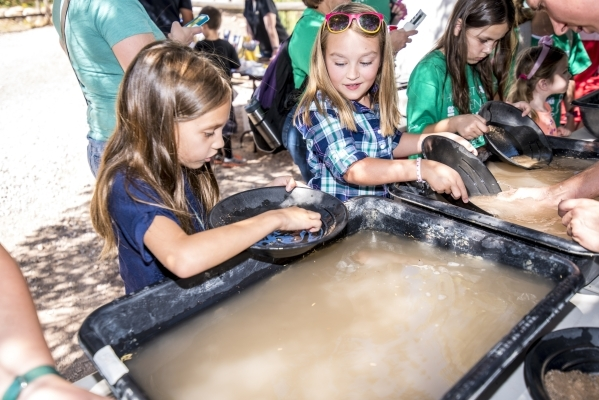 Talya Cleams, left, and Lillian Kluge pan for gold during Pioneer Day at Spring Mountain Ranch State Park in Blue Diamond, Nev. on Saturday, Sept. 19, 2015. Joshua Dahl/Las Vegas Review-Journal