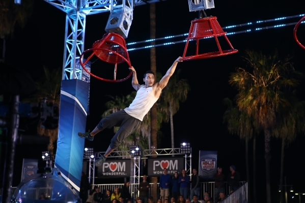 "Las Vegan Almas Meirmanov is shown competing during ""American Ninja Warrior."" The ""Warrior"" final premieres tonight on KSNV-TV, Channel 3. Ryan Tuttle/NBC"