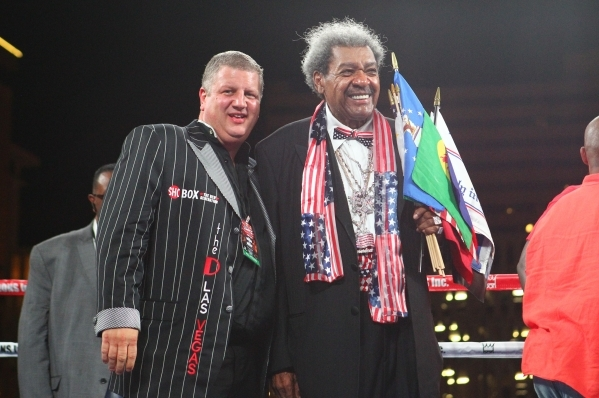 The D hotel-casino owner Derek Stevens, left, stands with boxing promoter Don King between matches at the Downtown Las Vegas Events Center in Las Vegas on Friday, Aug. 28, 2015. Chase Stevens/Las  ...