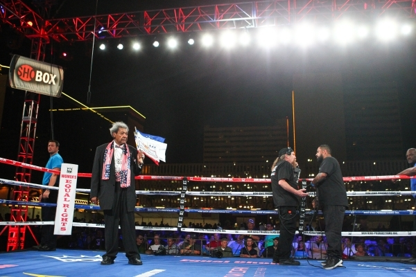 Boxing promoter Don King, left, stands in the ring between matches at the Downtown Las Vegas Events Center in Las Vegas on Friday, Aug. 28, 2015. Chase Stevens/Las Vegas Review-Journal Follow @css ...