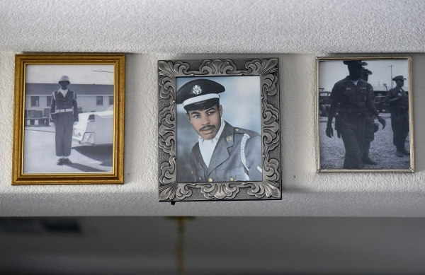 Photographs of now retired Air Force veteran Willie Smith are seen displayed in his North Las Vegas home on Monday, Aug. 31, 2015. (David Becker/Las Vegas Review-Journal)