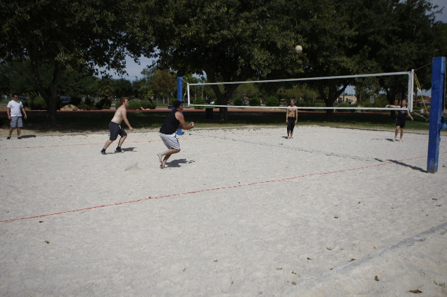 Volleyball players play at Sunset Park in Las Vegas Sunday, Aug. 30, 2015. Volleyball players are upset about the Clark County Parks and Recreation Department's move to put coarse sand in vo ...
