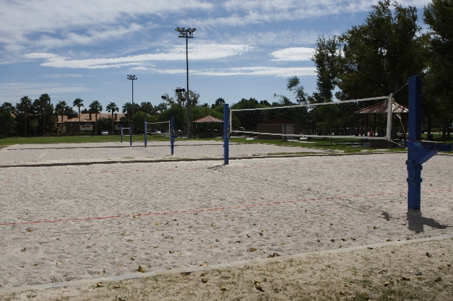 Volleyball courts at Sunset Park in Las Vegas are seen on Sunday, Aug. 30, 2015. Volleyball players are upset about the Clark County Parks and Recreation Department's move to put coarse sand ...