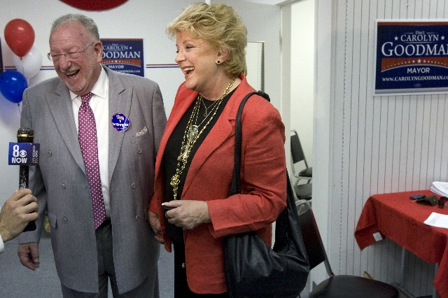 Las Vegas mayoral candidate Carolyn Goodman and her husband Mayor Oscar Goodman talk to a reporter during an election night party at her campaign headquarters near the Meadows Mall Tuesday, April  ...