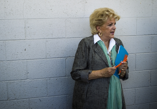 Las Vegas Mayor Carolyn Goodman speaks during the Great Breakfast Challenge event  at Lois Craig Elementary, 2637 E Gowan Road on Tuesday, Sept. 1, 2015.   JEFF SCHEID/LAS VEGAS REVIEW-JOURNAL
