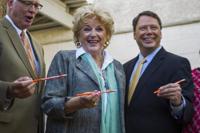 Las Vegas Mayor Carolyn Goodman, flanked by Henderson Mayor Andy Hafen, left, and Clark County School Superintendent Pat Skorkowsky, enjoy the Great Breakfast Challenge event  at Lois Craig Elemen ...