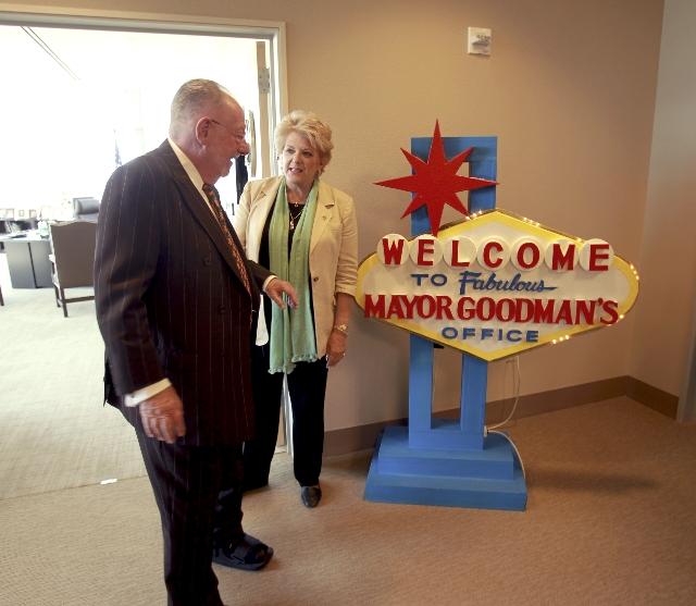 Former Las Vegas Mayor Oscar Goodman talks to his wife and current Las Vegas Mayor Carolyn Goodman outside the Mayor's office at Las Vegas City Hall on Tuesday, Sept. 25, 2012. (Jeff Scheid/ ...