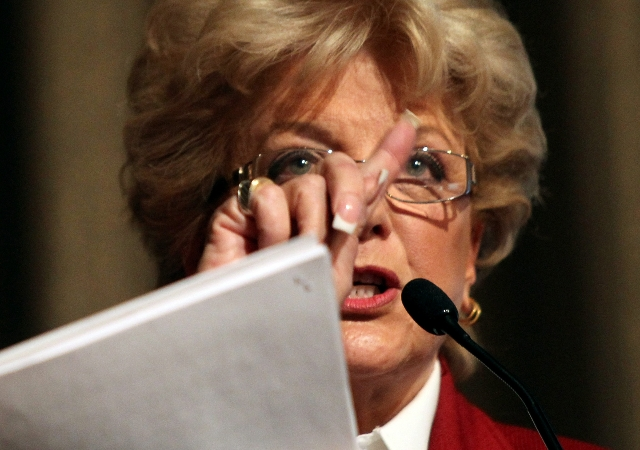 Las Vegas Mayor Carolyn Goodman speaks at the Governor's Conference on Tourism at the Rio hotel-casino on Tuesday, Nov. 29, 2011. JEFF SCHEID/LAS VEGAS REVIEW-JOURNAL