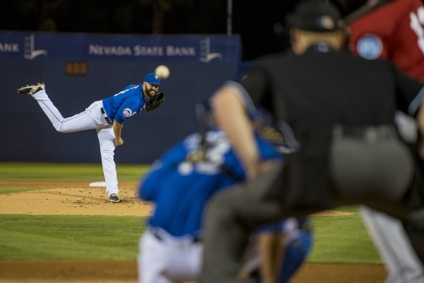 Dillon Gee of the Las Vegas 51s pitches to the Tacoma Rainers at Cashman Field on Friday, Sept. 4, 2015. (Joshua Dahl/Las Vegas Review-Journal)